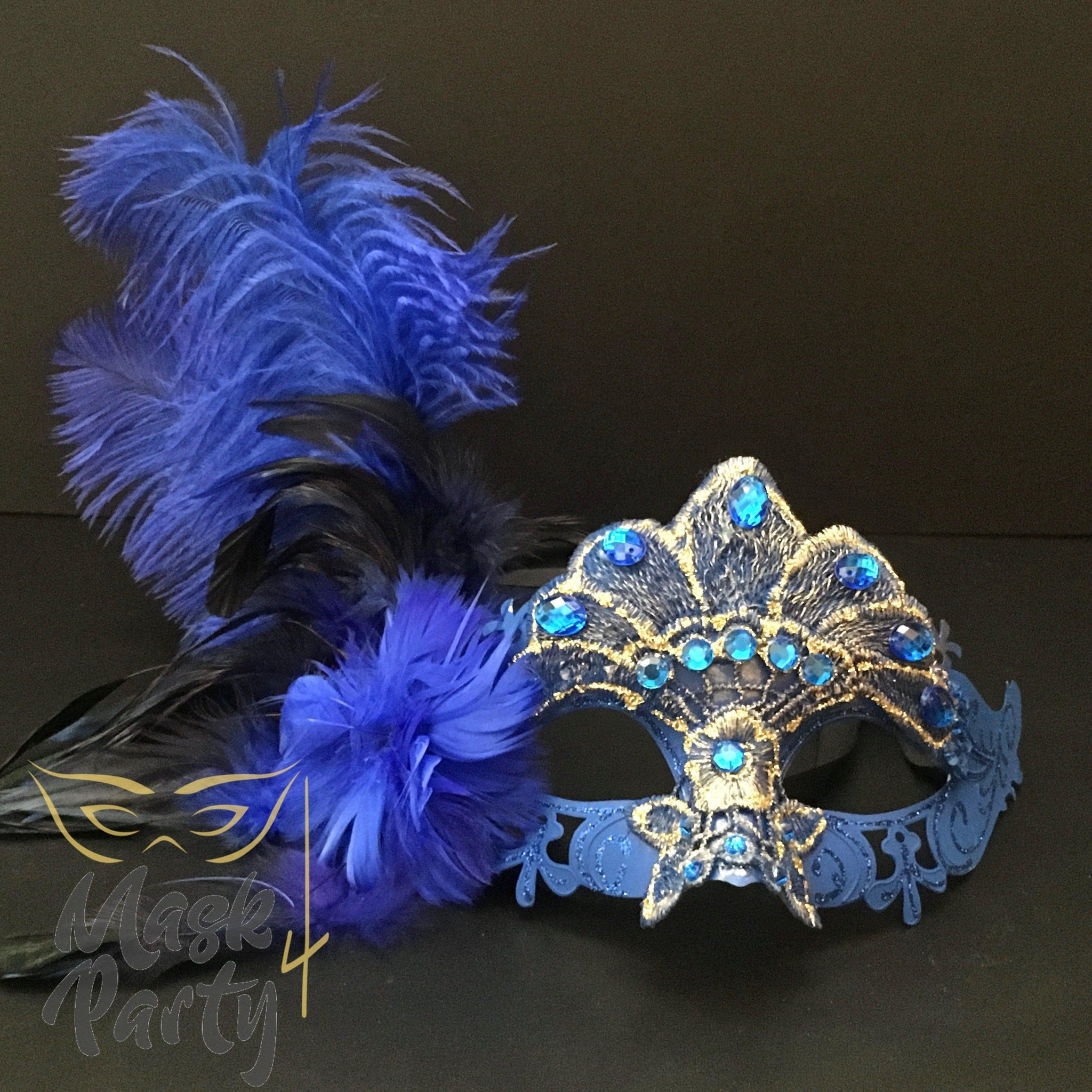Masquerade Mask - Lace Feather w/ Crystal - Blue - Mask4Party