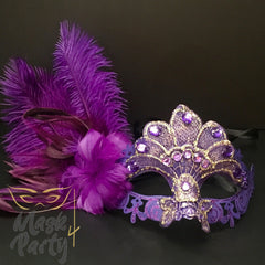Masquerade Mask - Lace Feather w/ Crystal - Purple - Mask4Party