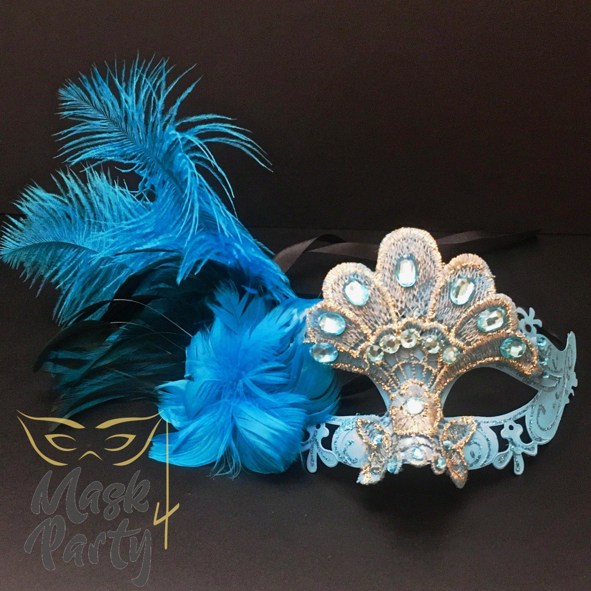 Masquerade Mask - Lace Feather w/ Crystal - Turquoise Blue - Mask4Party