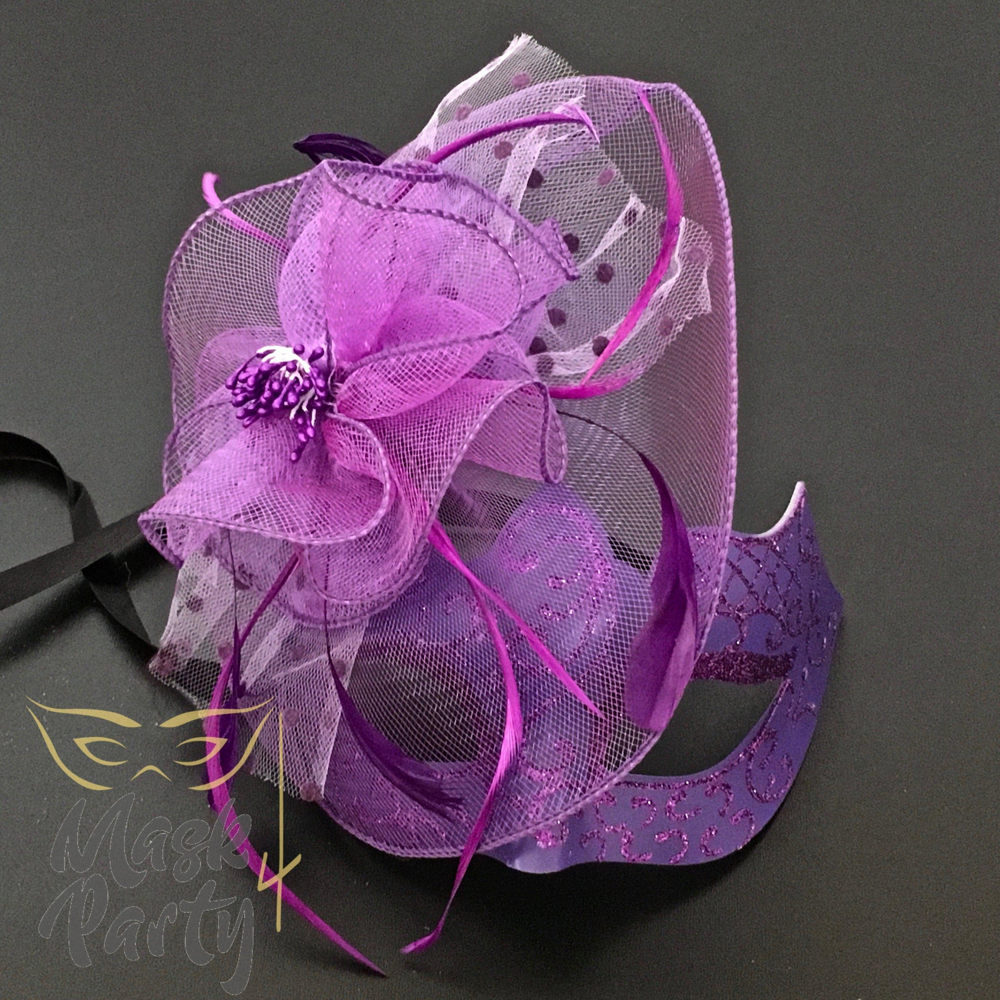Masquerade Mask - Lace Flower w/ Net - Purple - Mask4Party