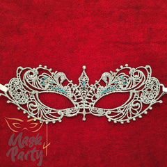 Masquerade Mask - Lace Mask With Crystal - Silver - Mask4Party