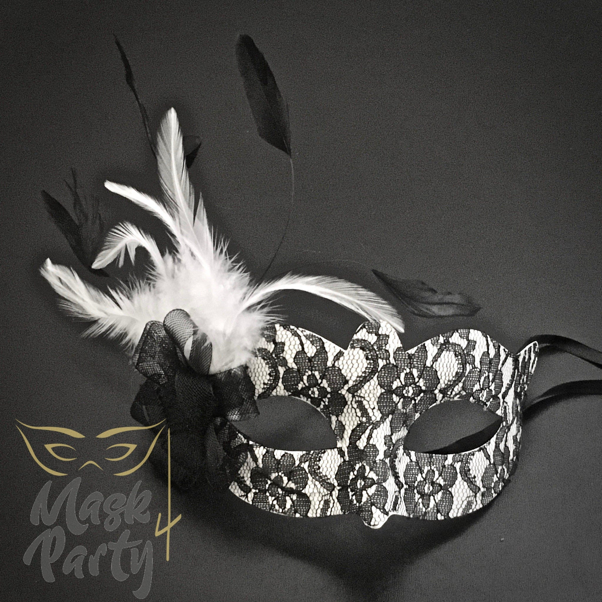 Masquerade Mask - Lace w/ Feather Eye - White/Black - Mask4Party