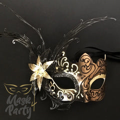 Masquerade Mask - Luxurious Butterfly Mask - Black/Gold - Mask4Party