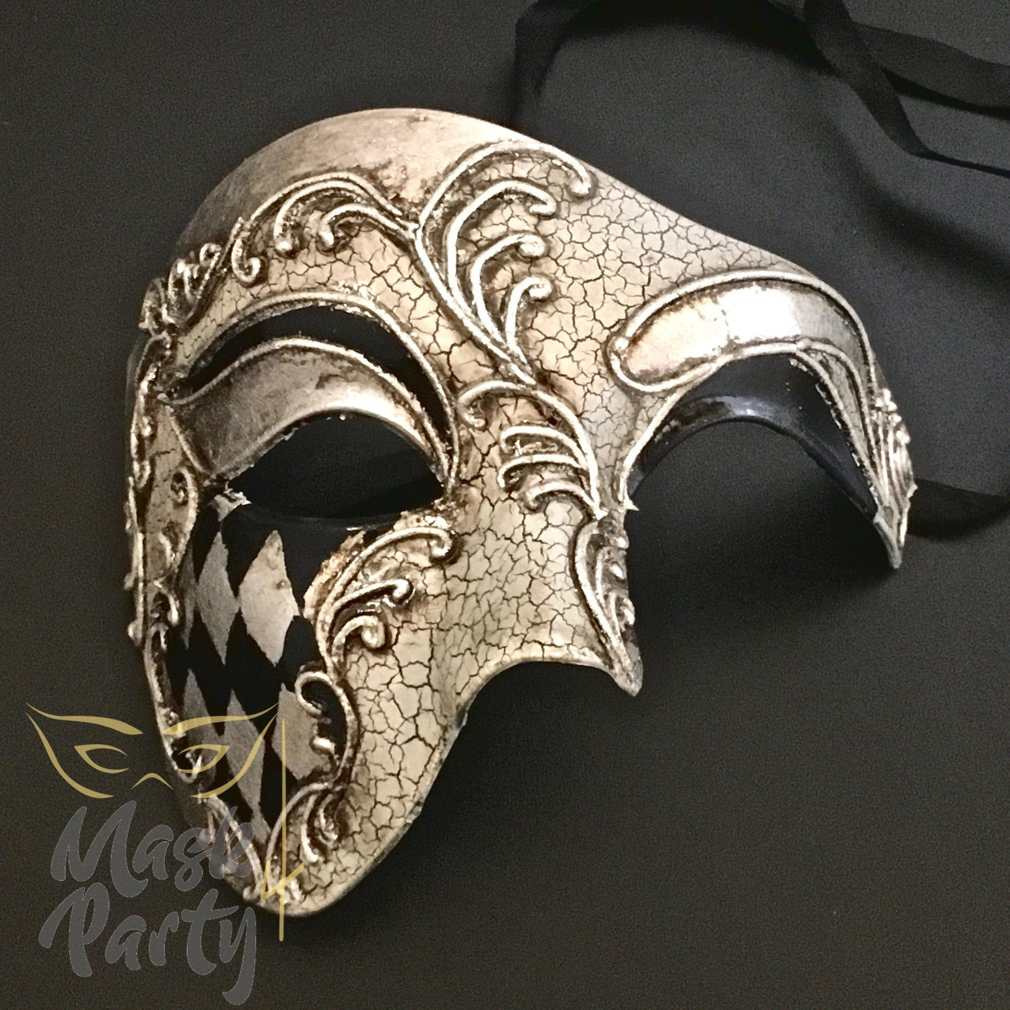 Masquerade Mask - Phantom Of The Opera - Black/Silver - Mask4Party