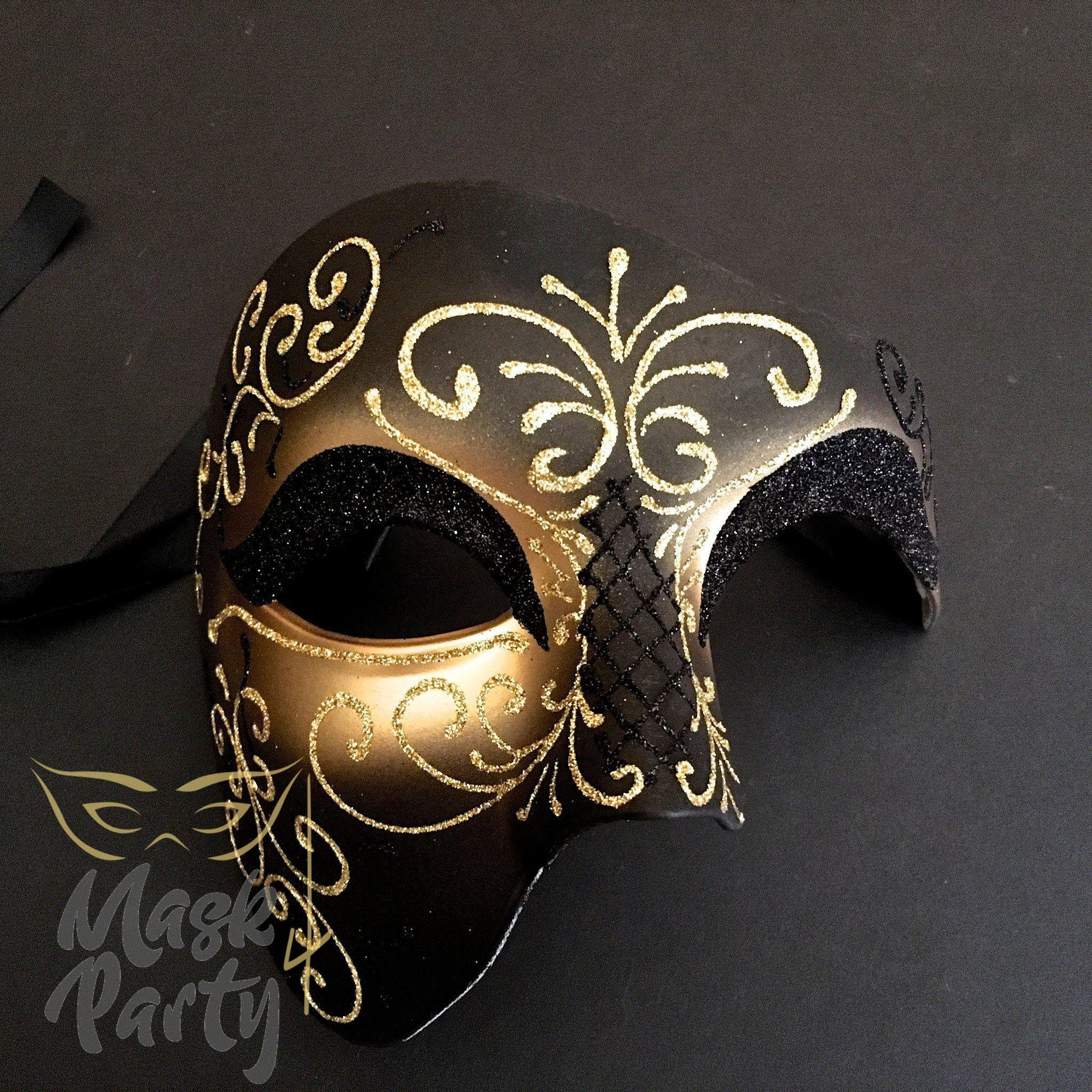 Masquerade Mask - Phantom Of The Opera Glitter - Black/Gold - Mask4Party