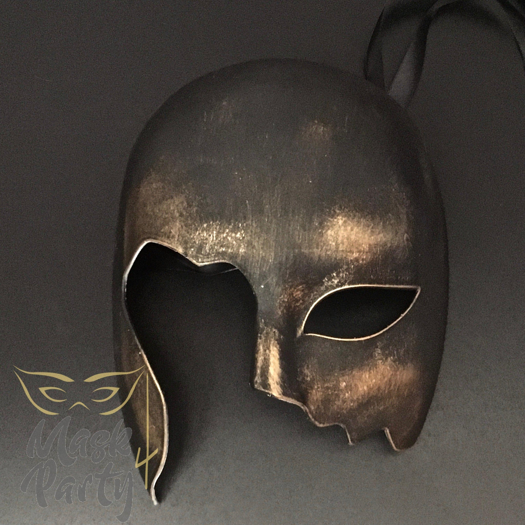 Masquerade Mask - Rome Combat Helmet - Black/Gold - Mask4Party