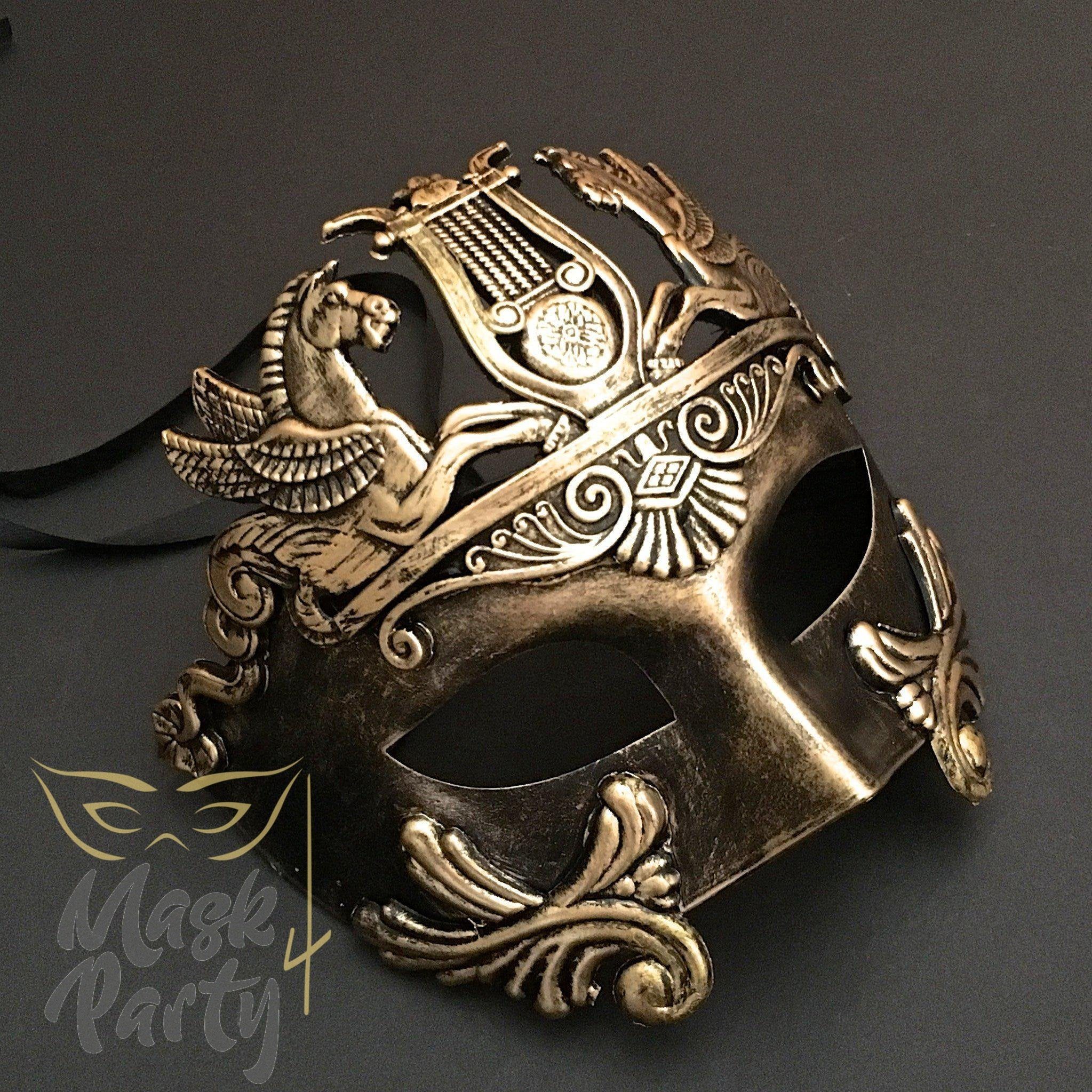 Masquerade Mask - Rome Warrior - Black/Gold - Mask4Party