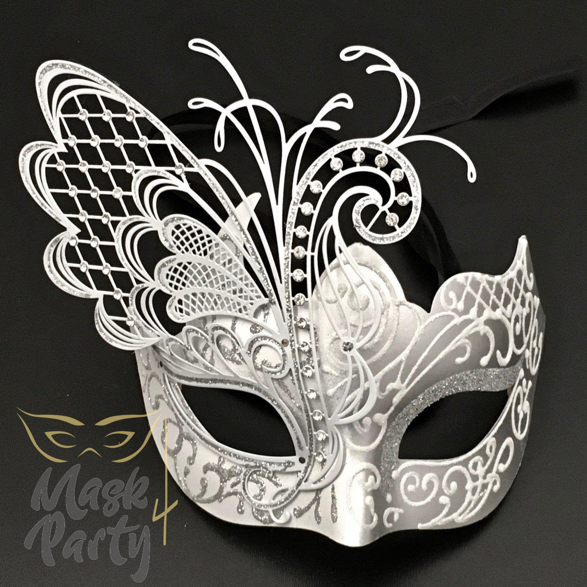 Masquerade Mask - Venetian Butterfly - White/Silver - Mask4Party
