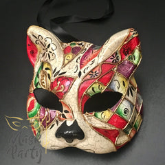 Masquerade Mask - Venetian Cat - Red - Mask4Party