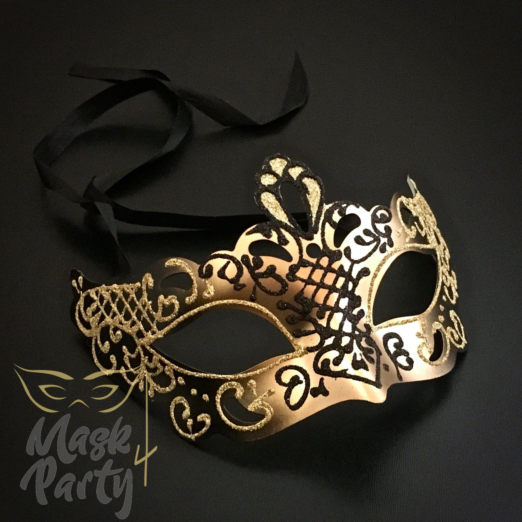 Masquerade Mask - Venetian Eye - Black/Gold - Mask4Party