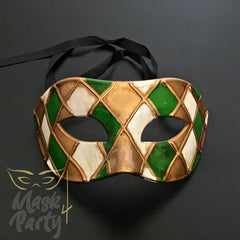 Masquerade Mask - Venetian Eye - Green/Gold - Mask4Party