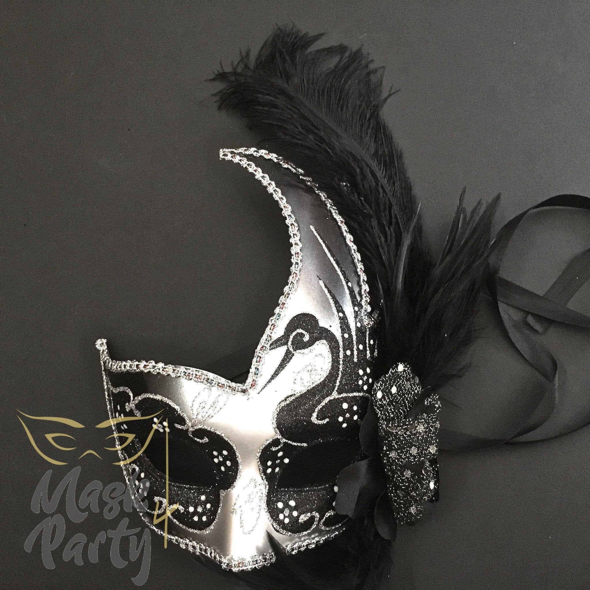 Masquerade Mask - Venetian Feather - Black/Silver - Mask4Party