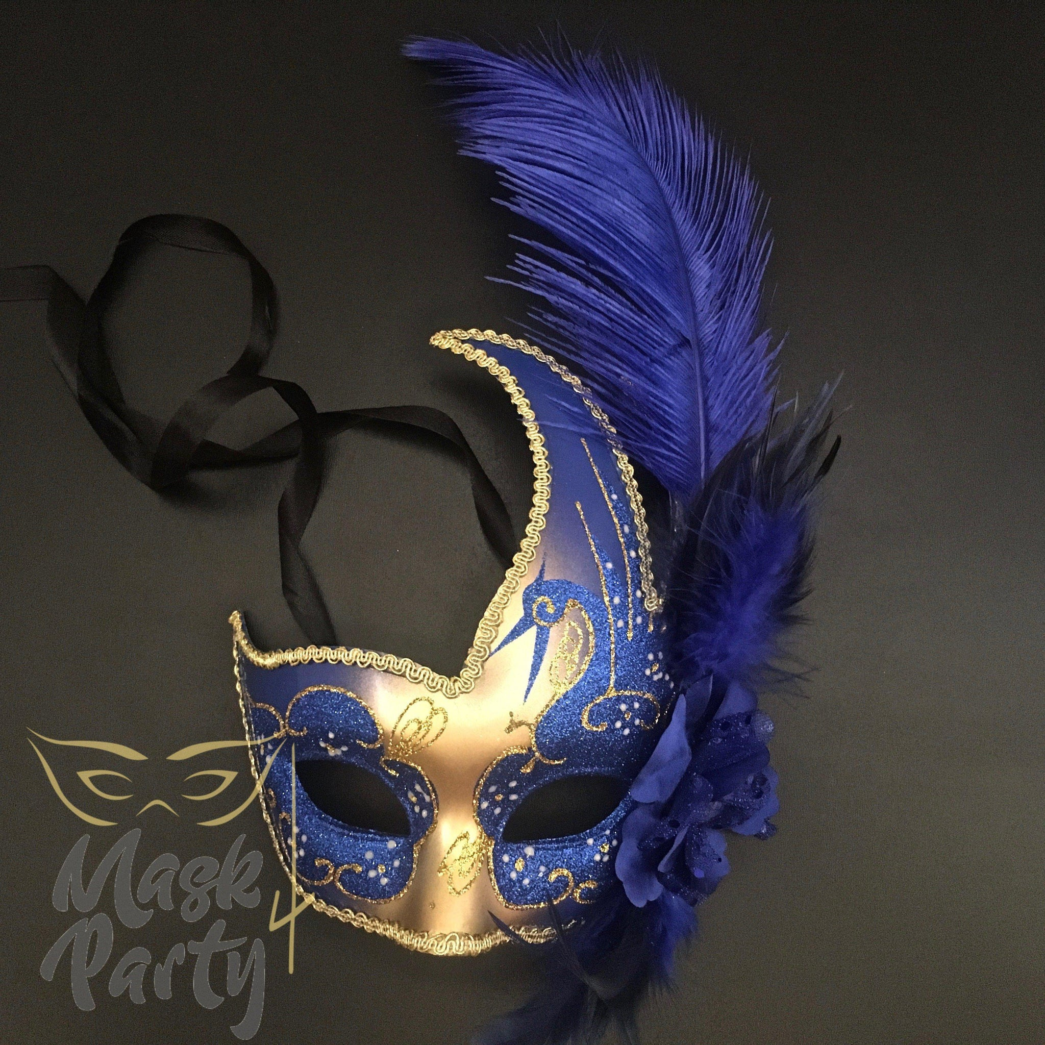 Masquerade Mask - Venetian Feather - Blue/Gold - Mask4Party