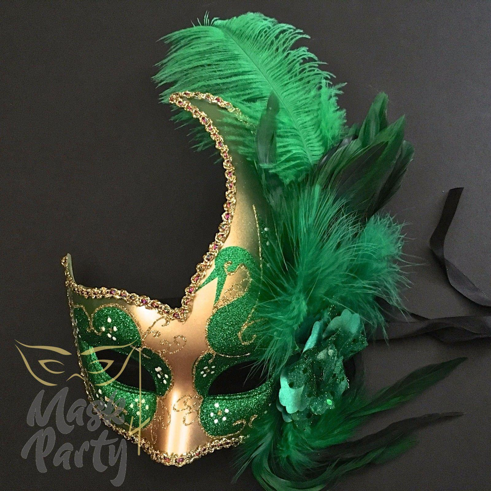 Masquerade Mask - Venetian Feather - Gold/Green - Mask4Party