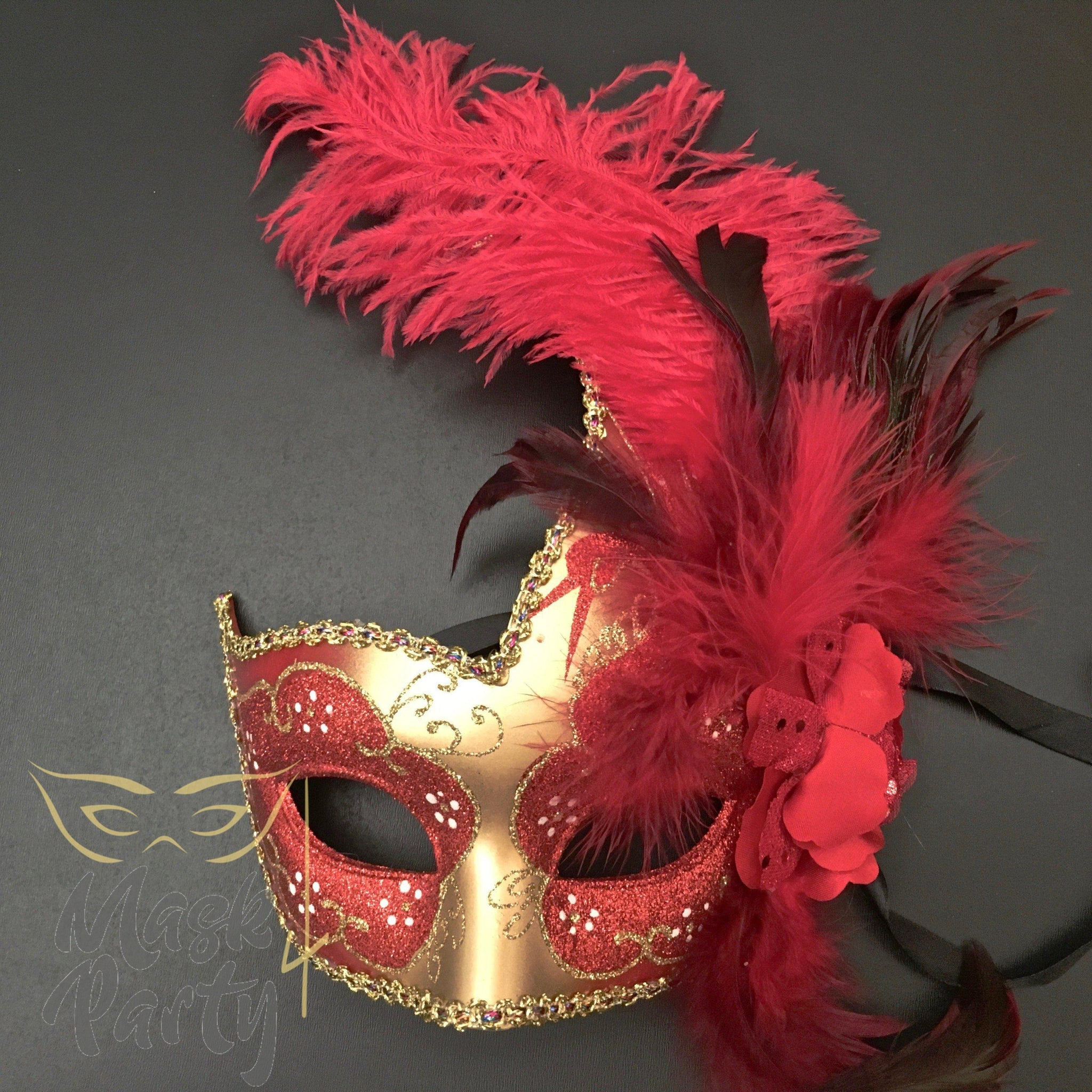 Masquerade Mask - Venetian Feather - Red/Gold - Mask4Party