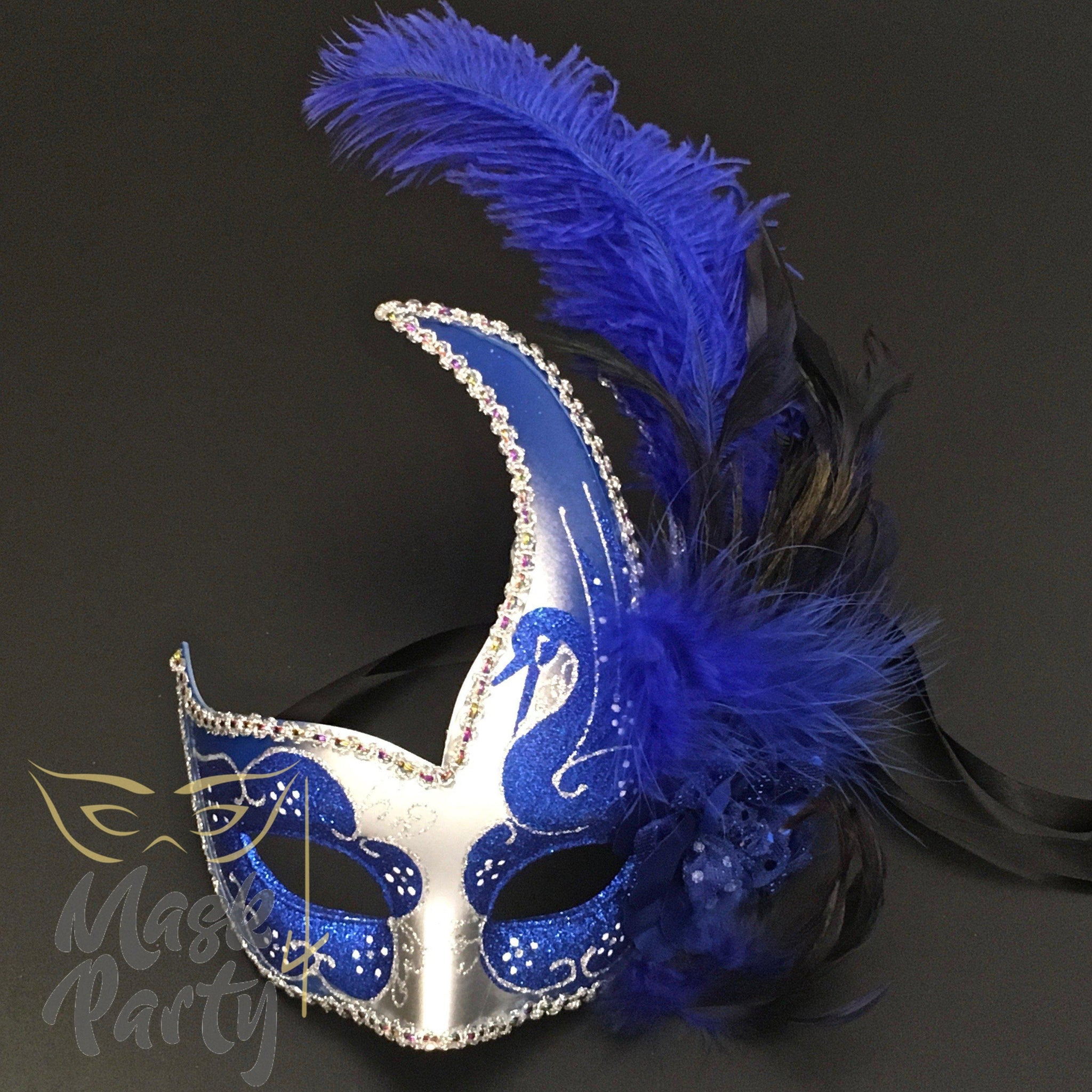 Masquerade Mask - Venetian Feather - Silver/Blue - Mask4Party