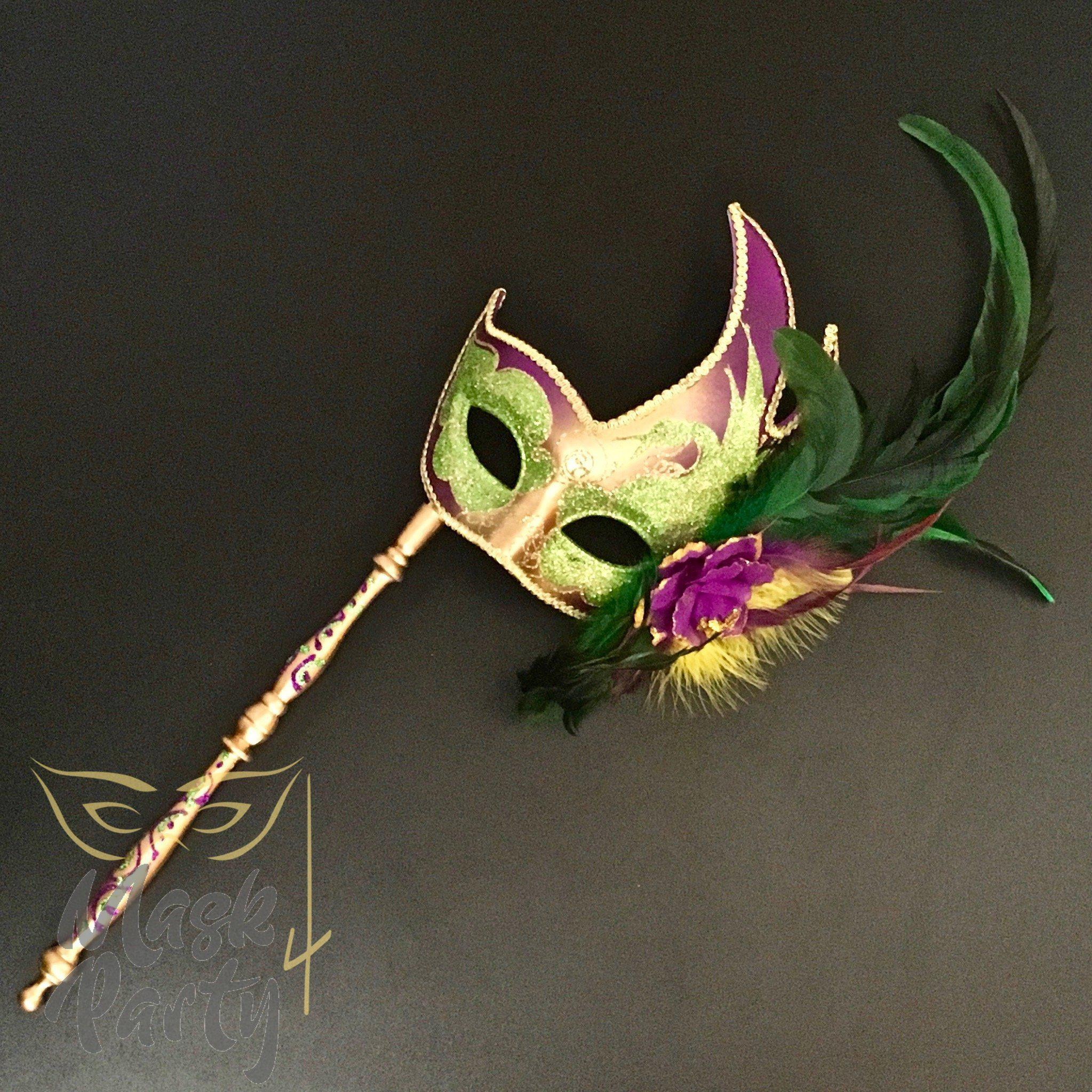 Masquerade Mask - Venetian Feather w/ Stick - Purple/Gold/Green - Mask4Party