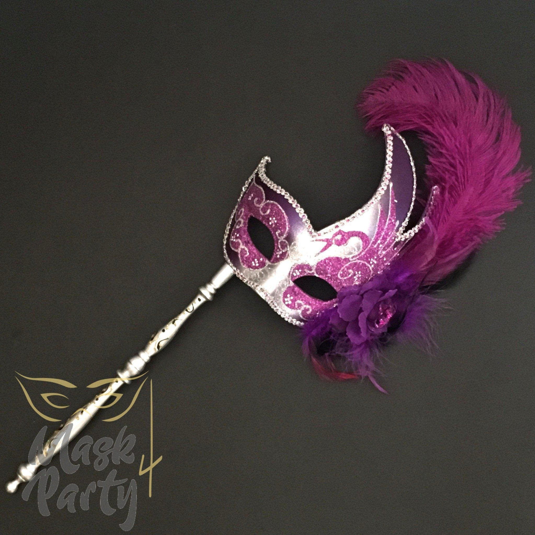 Masquerade Mask - Venetian Feather w/ Stick - Silver/Purple - Mask4Party