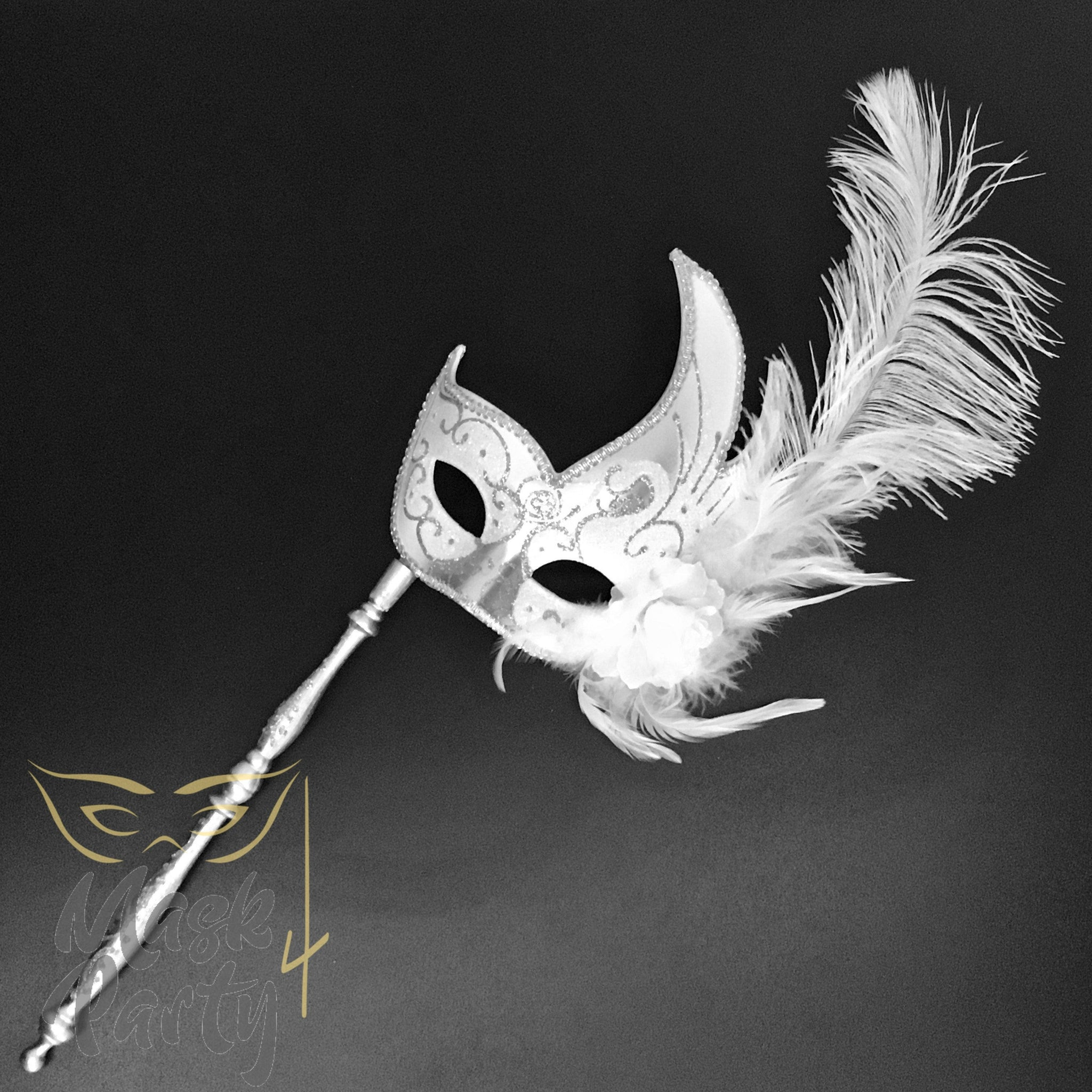 Masquerade Mask - Venetian Feather w/ Stick - White/Silver - Mask4Party