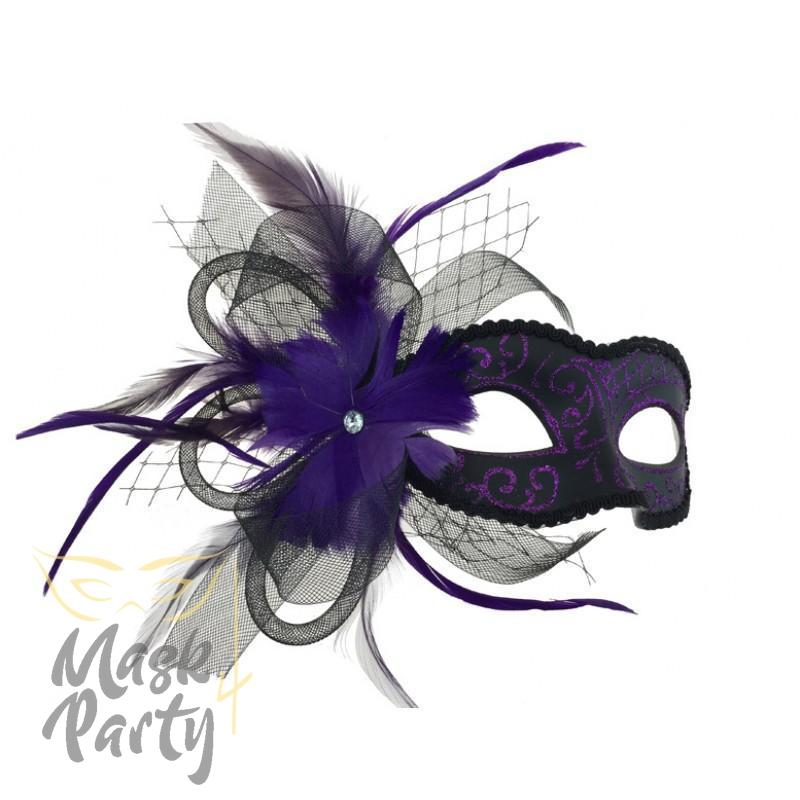 Masquerade Mask - Venetian Floral - Black/Purple - Mask4Party