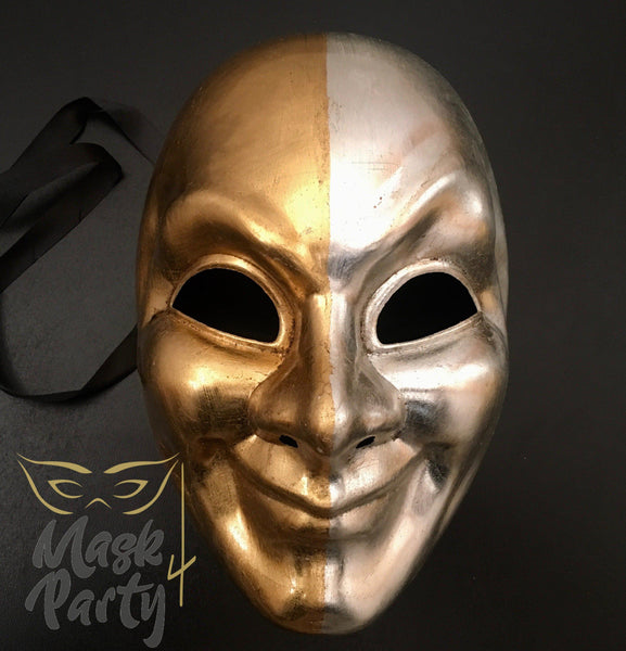 Masquerade Mask - Venetian Full Mask - Gold/Silver - Mask4Party