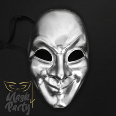 Masquerade Mask - Venetian Full Mask - Silver - Mask4Party