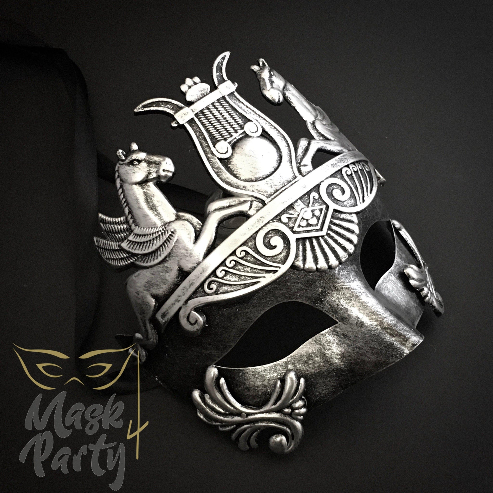 Masquerade Mask - Venetian Greek Mask - Black/Silver - Mask4Party