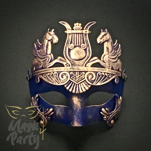 Masquerade Mask - Venetian Greek Mask - Blue/Gold - Mask4Party