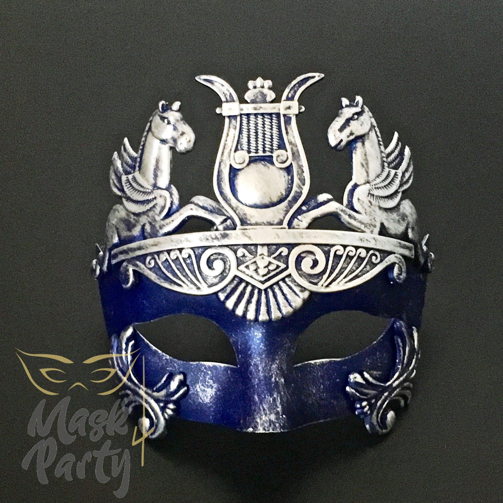 Masquerade Mask - Venetian Greek Mask - Blue/Silver - Mask4Party