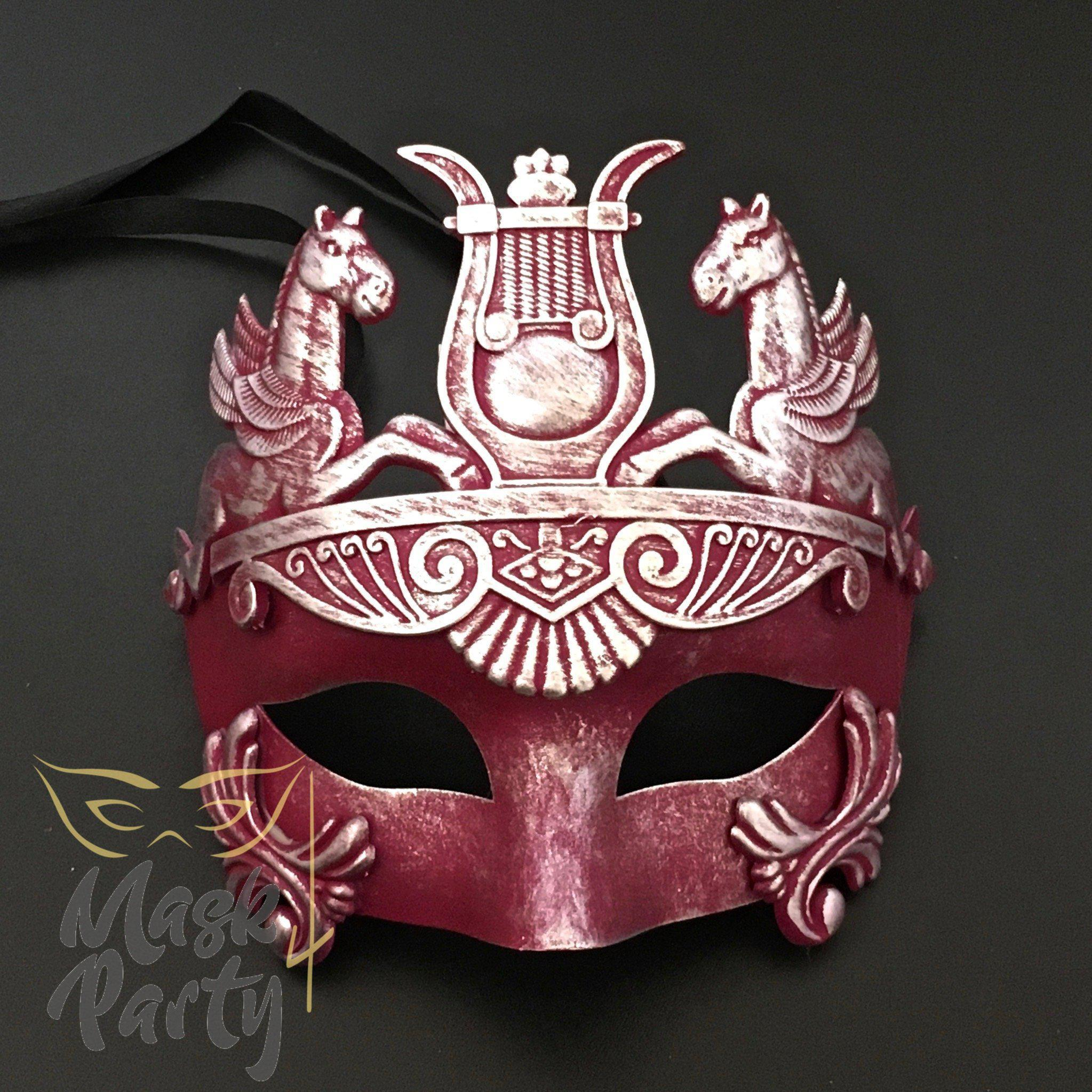 Masquerade Mask - Venetian Greek Mask - Hot Pink/Silver - Mask4Party