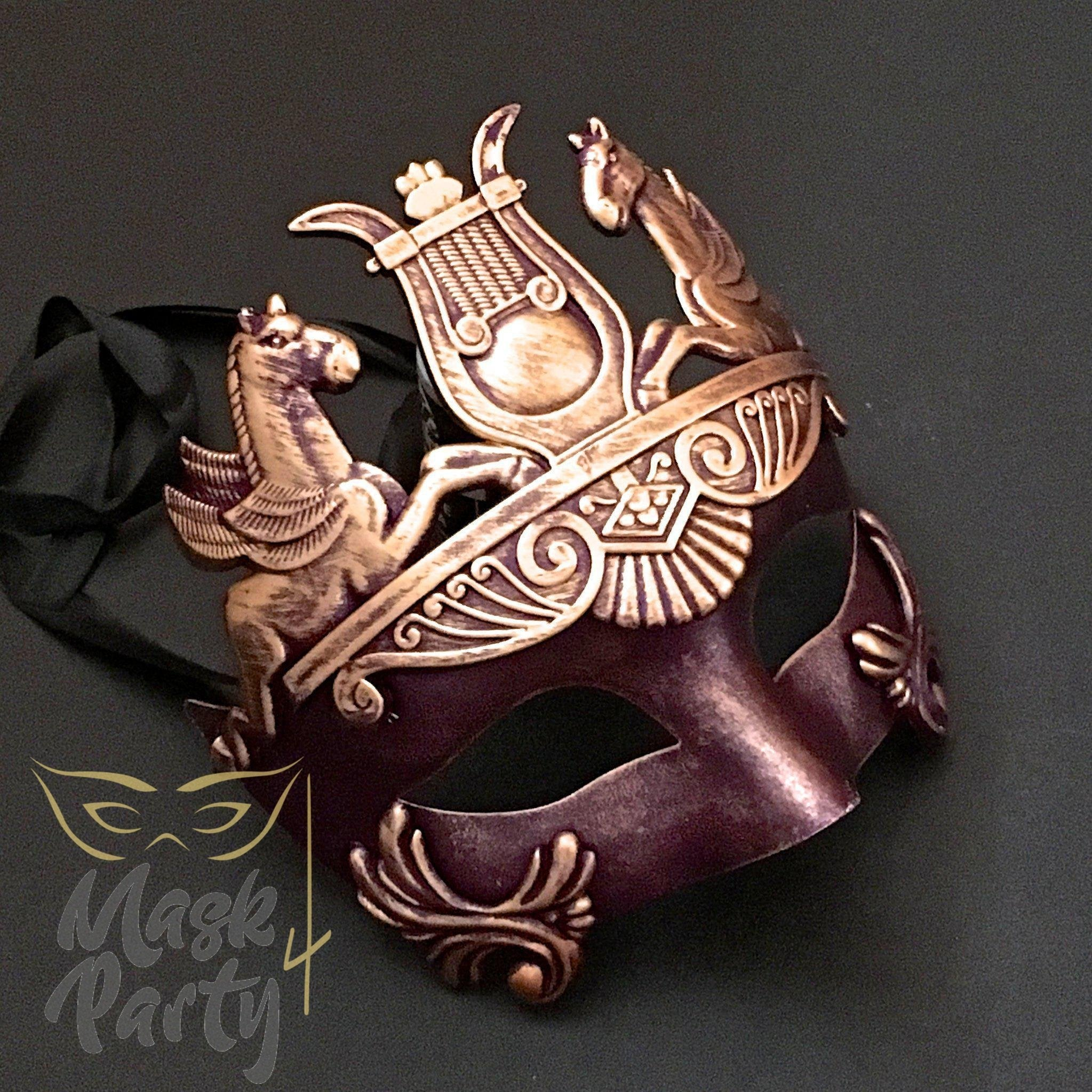 Masquerade Mask - Venetian Greek Mask - Purple/Gold - Mask4Party