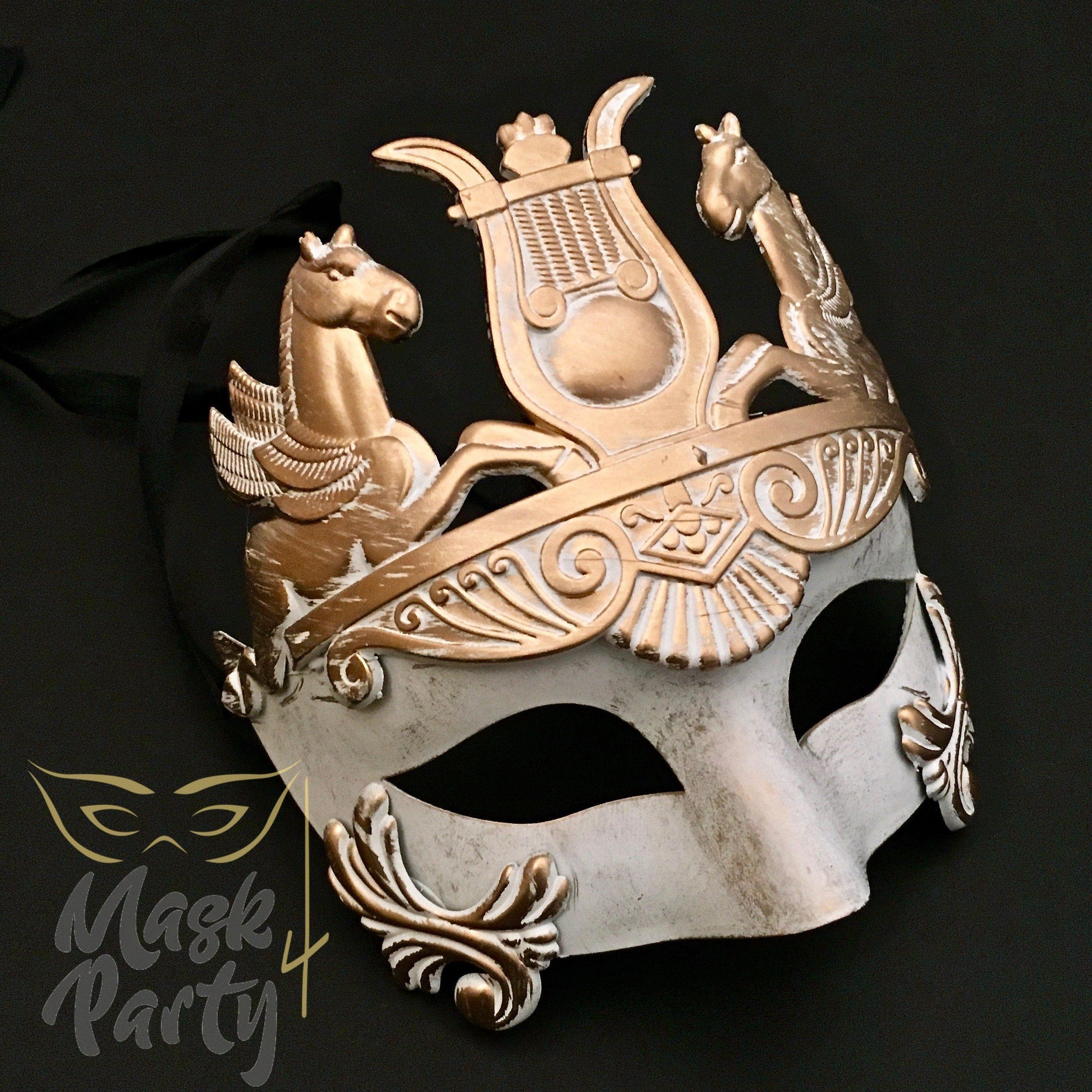 Masquerade Mask - Venetian Greek Mask - White/Gold - Mask4Party