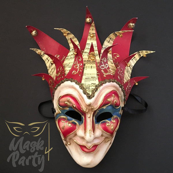Masquerade Mask - Venetian Jester Mask - Red/Blue - Mask4Party