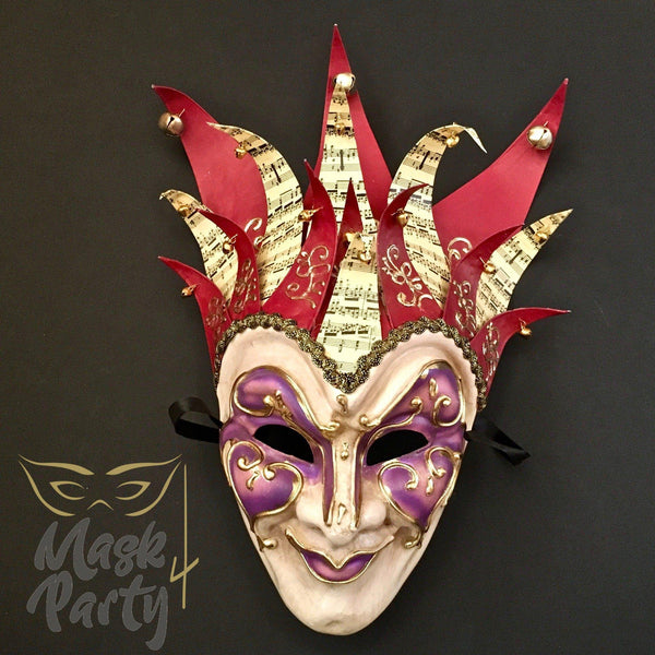 Masquerade Mask - Venetian Jester Mask - Red/Purple - Mask4Party