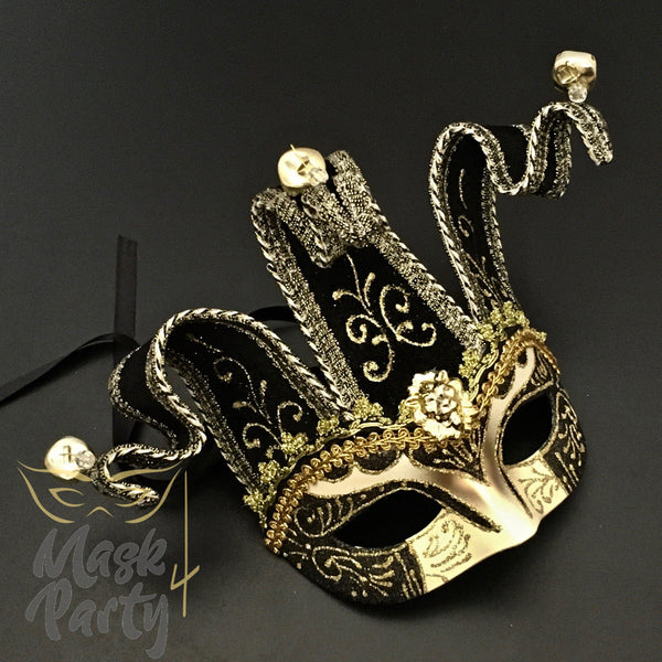 Masquerade Mask - Venetian Jolly Jester Mask - Black/Gold - Mask4Party