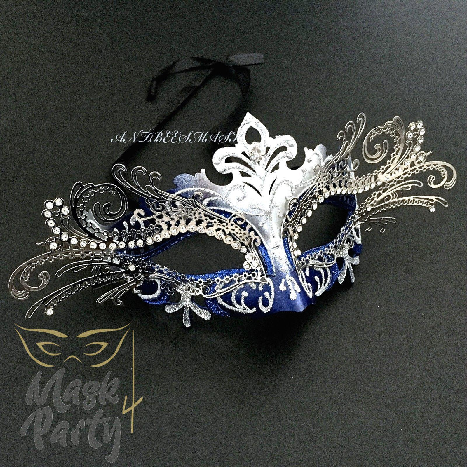 Masquerade Mask - Venetian Luxury Metal Eye - Blue/Silver - Mask4Party