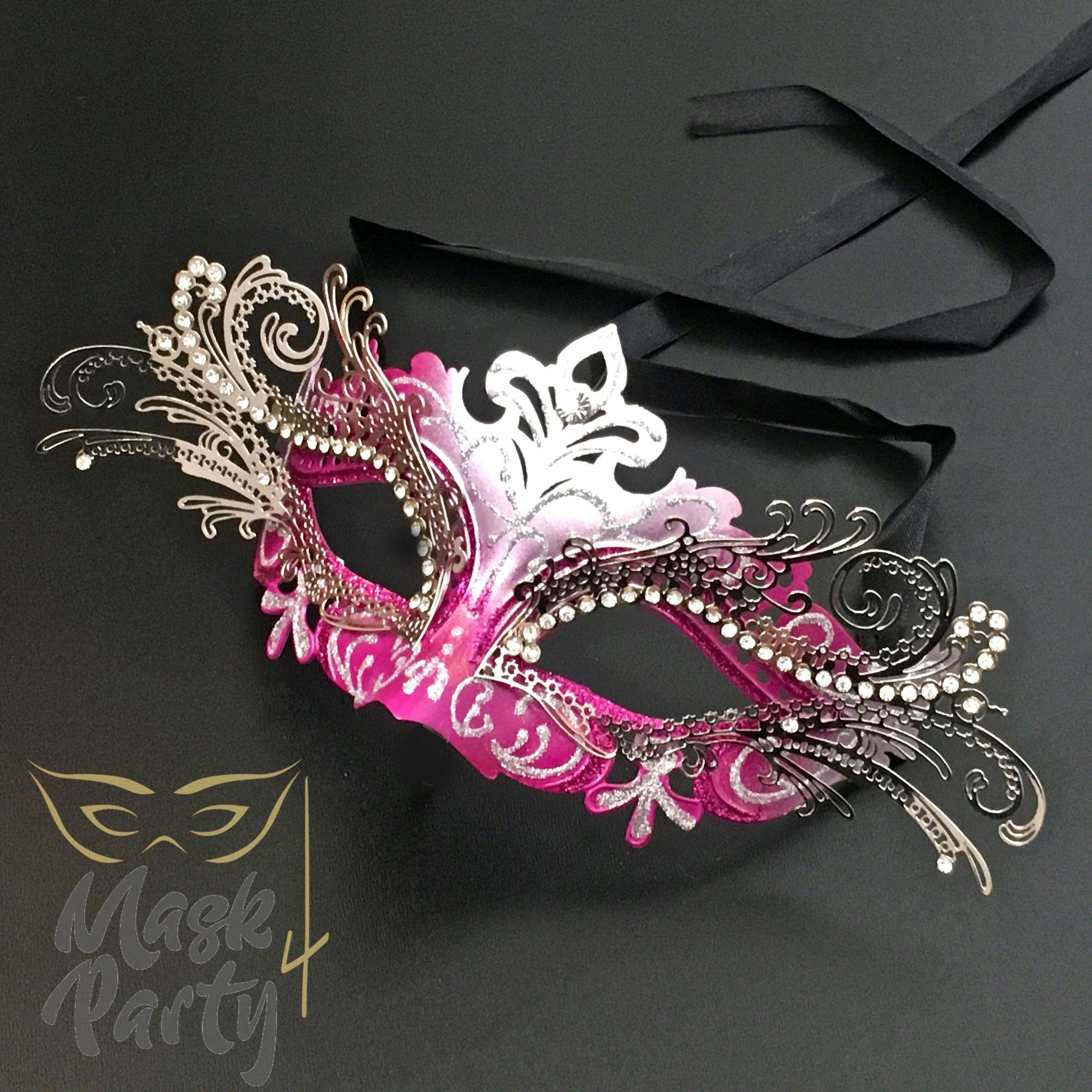 Masquerade Mask - Venetian Luxury Metal Eye - Hot Pink - Mask4Party