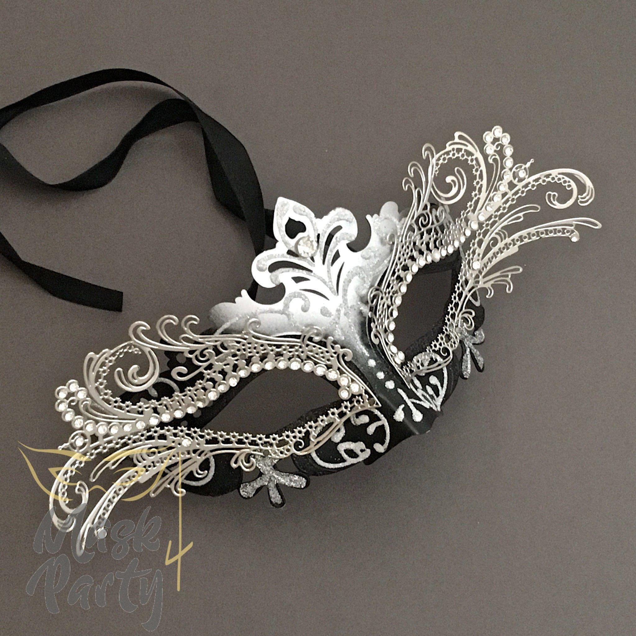 Masquerade Mask - Venetian Luxury Metal Eye - Silver/Black - Mask4Party