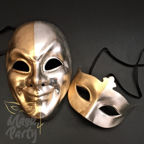 Masquerade Masks - Antique Venetian Mask & Eye - Gold/Silver - Mask4Party