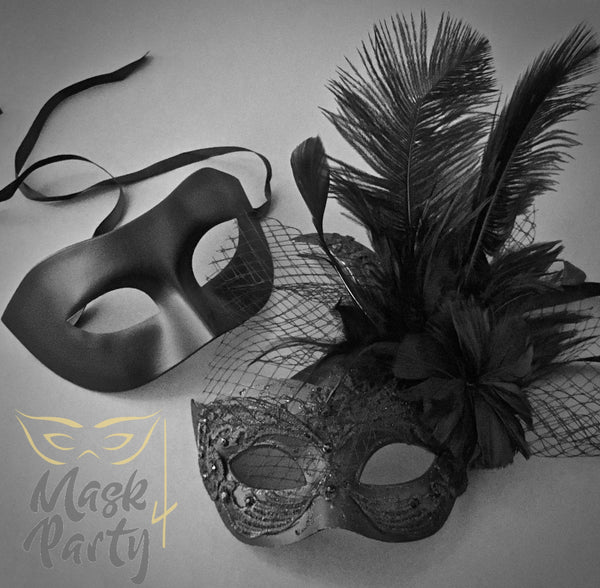 Masquerade Masks - Eye & Brocade Lace Feather - Black - Mask4Party