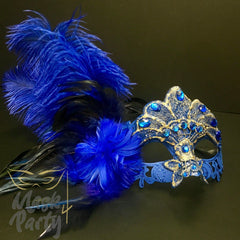 Masquerade Masks - Eye & Brocade Lace Feather - Blue - Mask4Party