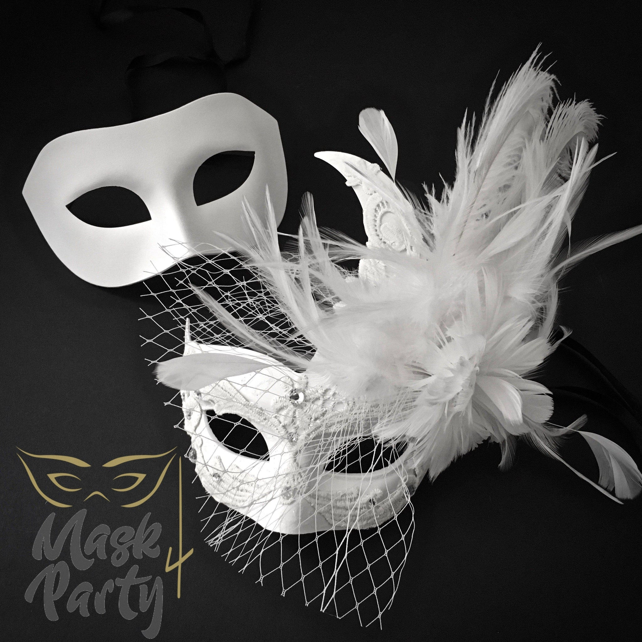Masquerade Masks - Eye & Brocade Lace Feather - White - Mask4Party