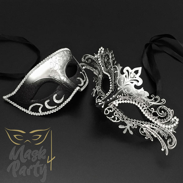 Masquerade Masks - Eye & Luxury Metal - Black/Silver - Mask4Party
