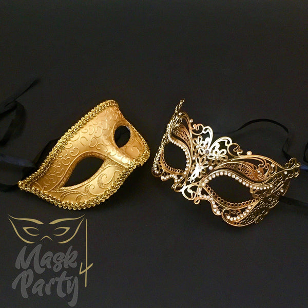 Masquerade Masks - Eye & Metal - Gold - Mask4Party