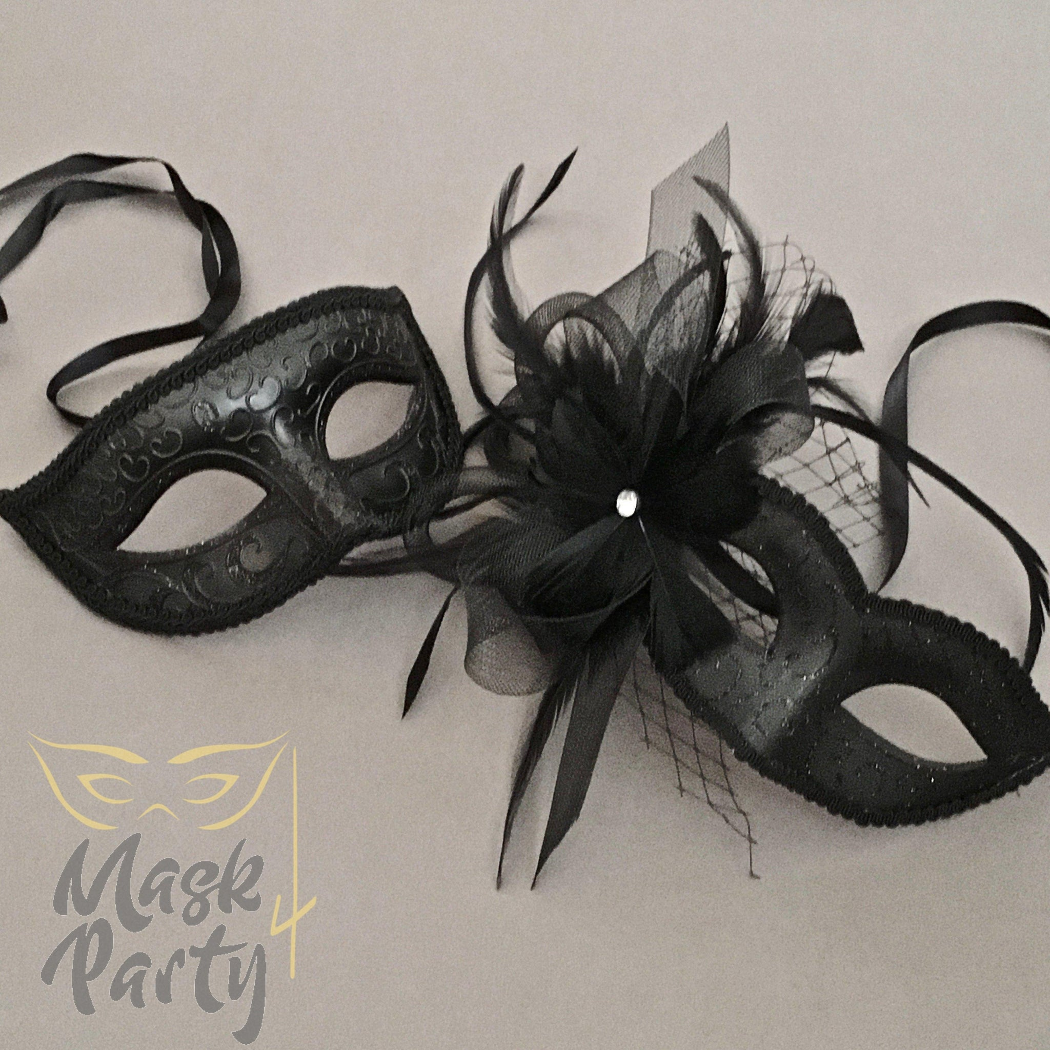 Masquerade Masks - Eye & Venetian Floral - Black Glitter - Mask4Party