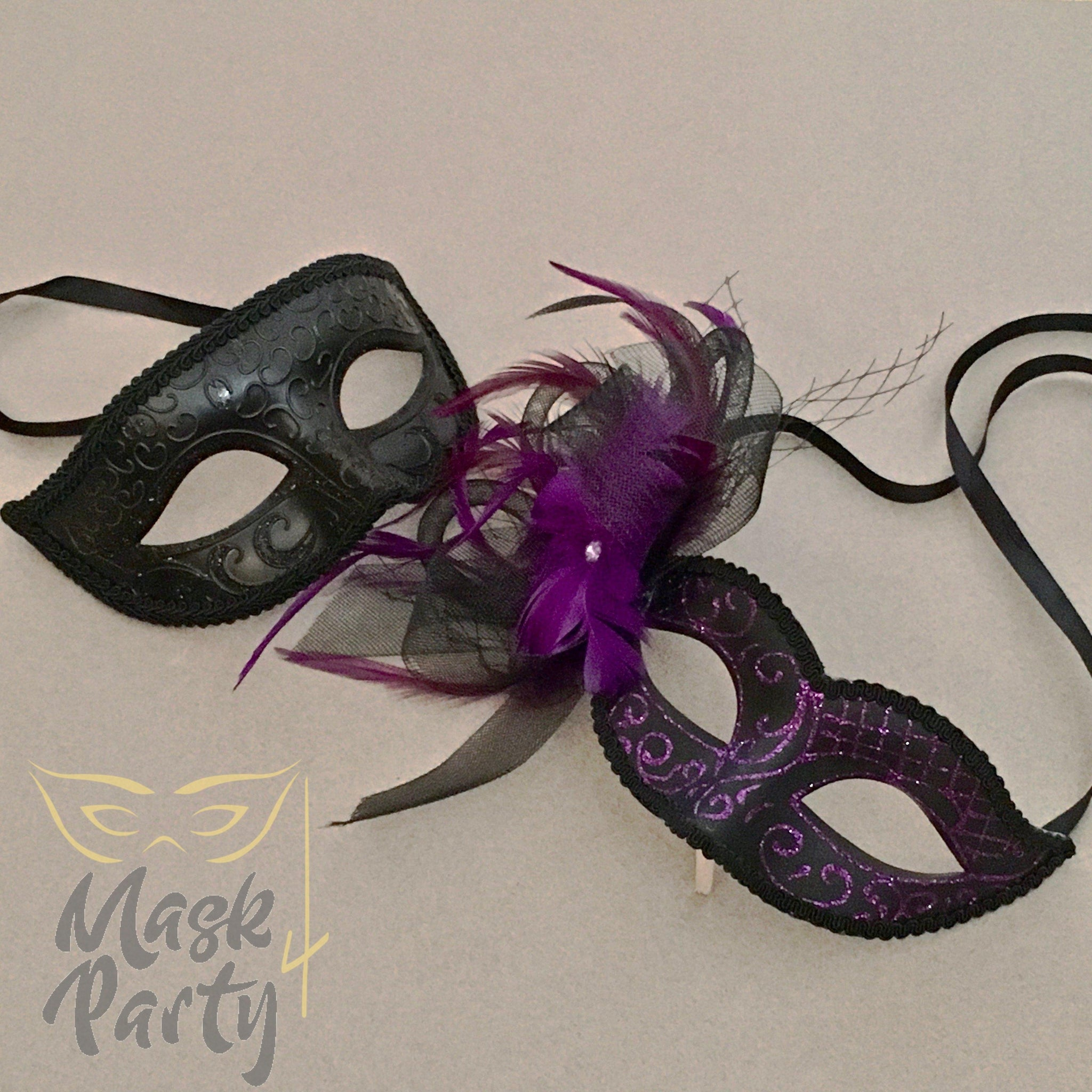 Masquerade Masks - Eye & Venetian Floral - Black/Purple Glitter - Mask4Party