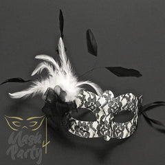 Masquerade Masks - Eye & Venetian Lace Feather - Black/Silver - Mask4Party