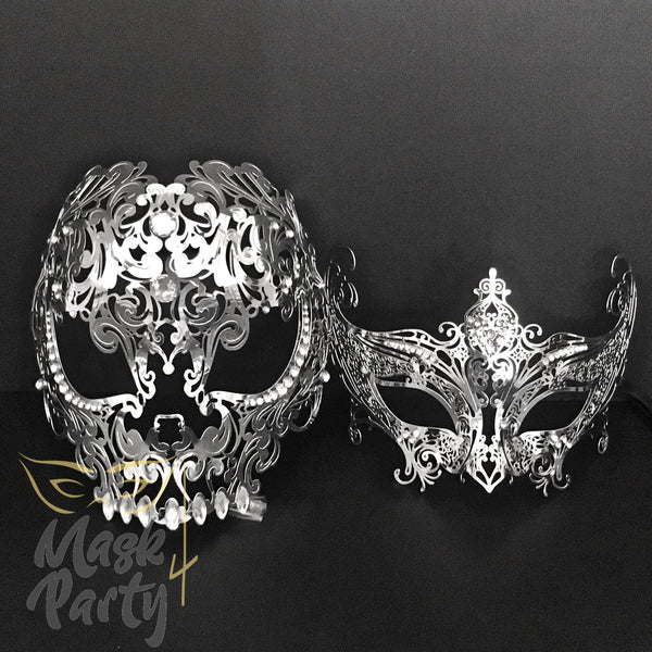 Masquerade Masks - Filigree Skull Crown Metal - Silver & Clear Rhinestones - Mask4Party