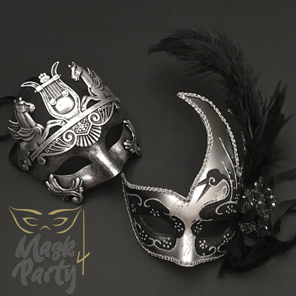 Masquerade Masks - Greek Roman Warrior & Venetian Feather - Silver/Black - Mask4Party