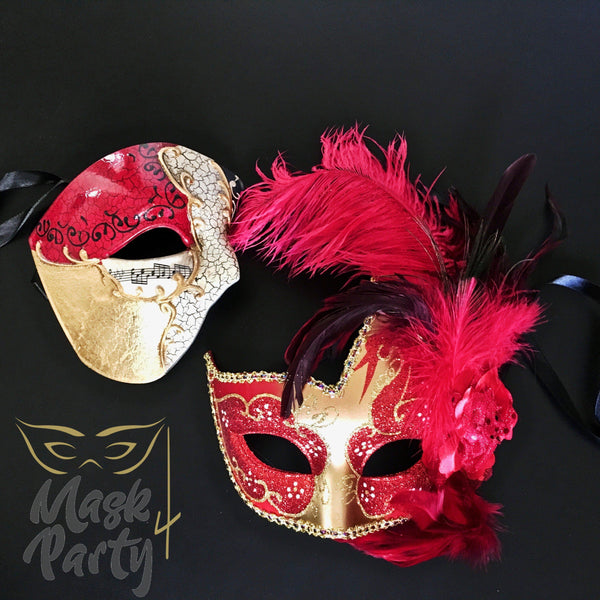MASQUERADE MASKS - HALF-FACE PHANTOM & FEATHER - RED/GOLD - Mask4Party